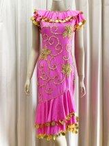 イスカンダラーニドレス(花柄装飾)ベール、フェイスカバー付き