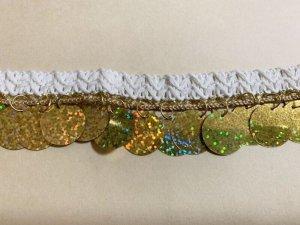 画像3: 郵送OK!プラスチックコインスパンコール 装飾テープ(オフホワイト×ゴールド)50cm