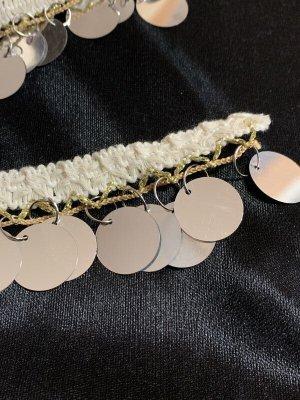 画像2: 郵送OK!プラスチックコインスパンコール 装飾テープ(オフホワイト×シルバー)50cm